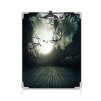 クリップボード A4 ハロウィーン かわいい画板 木の板の床 A4 タテ型 クリップファイル ワードパッド ファイルバインダー 携帯便利葉のない枝 ぼやけた満月の神秘的な装飾