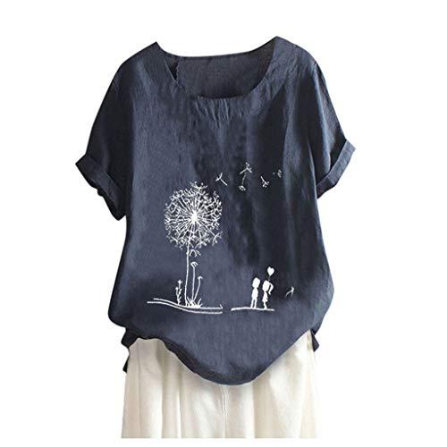 WGNNAA Damen Leinenblusen Casual Hemd Sommer Bluse Lässige Tops Kurzarmshirt Frühling Rundhals Lose Tunika Top Baumwolle Leinen T-Shirts Löwenzahnmuster