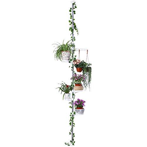 BAOYOUNI 5-Tier Innen Blumentreppe Zimmerpflanze Stand Teleskop Blumentopf Display Halter Rack Federbelastete Spannstange Edelstahl Rod Dekorative Lagerregal, Elfenbein
