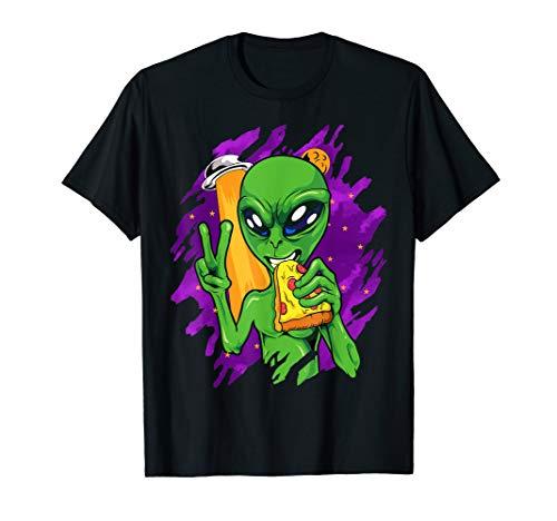 Alien Pizza Essen Frieden Halloween Lustige Raum Custome T-Shirt