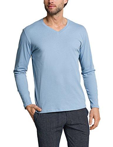 Schiesser Herren Mix & Relax Langarmshirt V-Ausschnitt Schlafanzugoberteil, Blau (Hellblau 805), X-Large (Herstellergröße: 054)