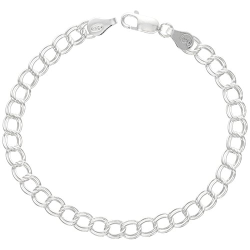 Sterling Silver Double Link Charm Bracelet 5.3 mm light weight Nickel Free Italy, 3/16 wide 7 inch