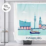 Drophop Duschvorhang Textil 180 x 200 cm, Blau-Weiss Hamburg Motiv 100prozent Polyester, gewichteter Saum, Blickdicht, Wasserdicht, Waschbar, antischimmel Beschichtung, inkl. 12 Edelstahl Ringen