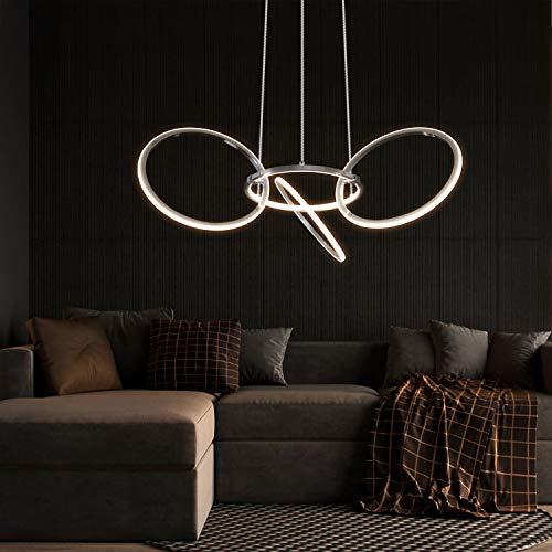 ZMH Moderne LED Esstisch Pendelleuchte 38W 3000K Led 4-Ringe Drehbar Hängeleuchte aus Metall Hängelampe Wohnzimmer Kronleuchter Höhenverstehbar