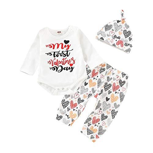 ProperLI Tenues de Saint-Valentin pour bébé Filles à Manches Longues avec Lettre imprimée en Dentelle + Love Print Pantalon + Hat Set (3-24Mois)