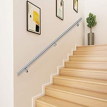 Happybuy 6 Feet Handrail Stainless Steel Indoor Stairway Straight Grab Wall Bars 1.97  Tube Diameter Interior Stair Hand Rail Silver
