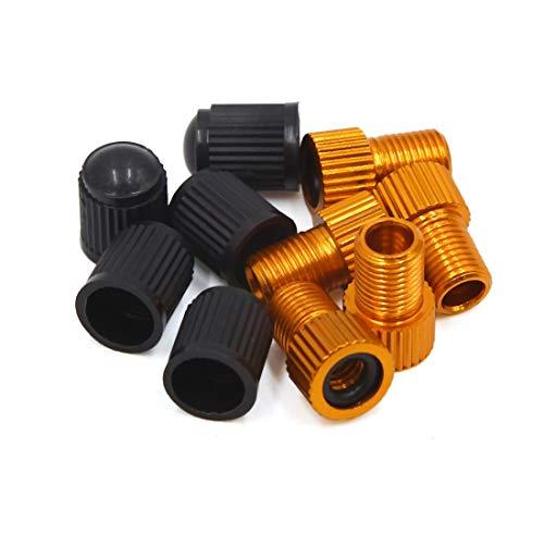 Sourcing map Lot de 5 adaptateurs pour valve de pneu Presta vers Schrader avec 5 bouchons