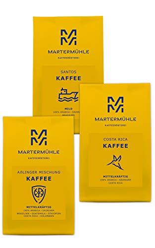 Martermühle | Kaffee Probierset | (3 x 250g) | Ganze Bohnen | Premium Kaffeebohnen aus aller Welt | Schonend & Fair geröstet | Säurearmer Kaffee | 100% Arabica | Kaffeebohnen Set Geschenk Idee