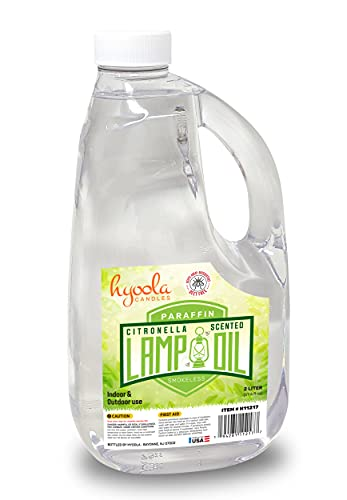 Citronella Lamp Oil, 67.6 oz. (2 Liter) - Smokeless Insect and Mosquito Repellent Scented Paraffin Fluid for Indoor and Outdoor Lamp, Lantern and Oil Candle Use - by Hyoola