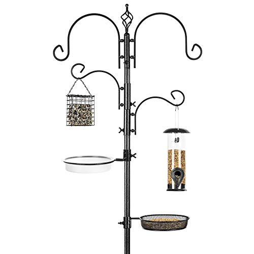 Best Choice Products 4-Hook Bird Feeding Station, Steel Multi-Feeder Kit Stand for Attracting Wild Birds w/ 2 Bird Feeders, Mesh Tray, Bird Bath, 4-Prong Base - Black