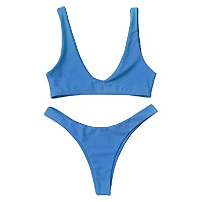 ZAFUL Swimsuit High Cut Cheeky Thong Bikini Scoop Neck Two Piece Bathing Suits for Women Blue L