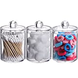 Tbestmax 3 Pack Small Cotton Swab Ball Pad Holder, 10 Oz Qtip Apothecary Jar Clear Makeup Organizer, Bathroom Containers Dispenser