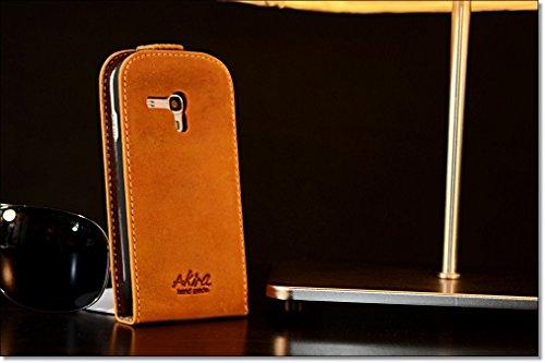 Akira Hand Made [Echt Leder] Handyhülle kompatibel mit Samsung Galaxy Ace 2 Cover Handgemacht Case Schutzhülle Etui Flip Wallet Pen Duinkel Braun