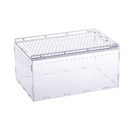 SNIIA Transparant plastic Faunarium Reptiliencontainer Transport en voederbox voor reptiele spin hagedis kikker Cricket Turtle Crab Snack - 15X20X30cm