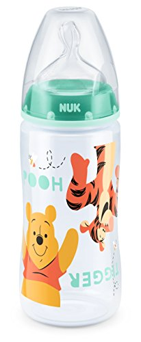 NUK Disney First Choice+ biberon | 6-18 mesi | Tettarella in silicone | Sfiato anti-coliche | Senza BPA | 300 ml | Winnie-the-Pooh (verde) | 1 pezzo