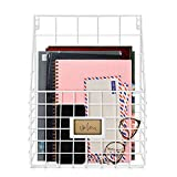 Flexzion Wall Mounted Magazine File Rack Organizer for Entryway Mail Office Kitchen Bathroom Home Basket Bin Decor Metal Wire Shelves Storage for A4 Documents Tablest DMS Comic Books Recipes, White