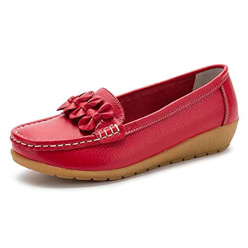 GAXmi Mocassini Donna Pelle Estivi Eleganti Flats Loafers Casual Antiscivolo Scarpe da Pisello Guida Rosso 40 EU