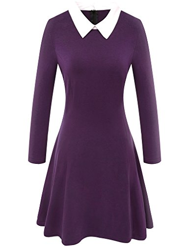Aphratti Women's Long Sleeve Casual Peter Pan Collar Flare Dress Purple XX-Large
