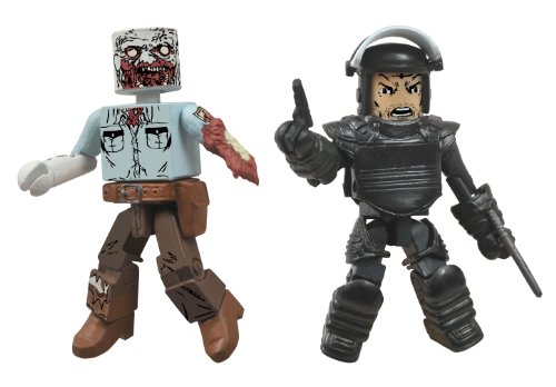 The Walking Dead Minimates Series 3 Riot Gear Rick and Guard Zombie Action Figurine