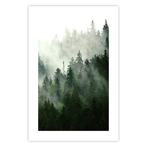 murando Poster Wald Nebel 20x30 cm Bilder Kunstdruck Plakat Wandbild Print Kunstposter Wandposter Wandbild Wohnung Wanddeko Design Natur c-B-0394-ao-a
