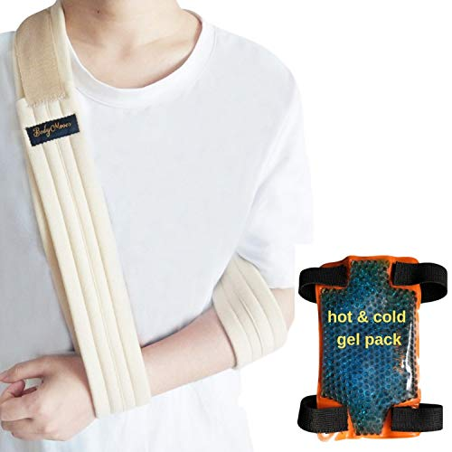 BodyMoves Arm Sling PLUS Hot and Cold Hand Ice Pack for shoulder surgery rotator cuff elbow immobilizer for men,women,kids Left or right wrist injuries fracture treatment (Khaki beige)