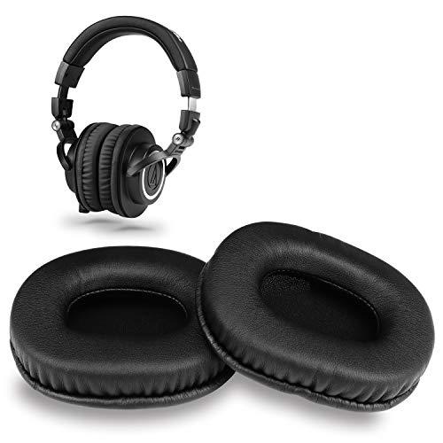 YOCOWOCO PU-Leder Ohrpolster Ersatz für Audio Technica ATH M50X / M50 / M40X / M40/ M30X/ M20X Kopfhörer, Schwarz