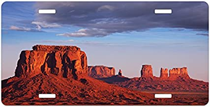 Lunarable USA License Plate, Monument Valley of Utah USA Sandstone Natural Environment Cloudscape Picture Print, High Gloss Aluminum Novelty Plate, 5.88 L X 11.88 W Inches, Redwood Blue