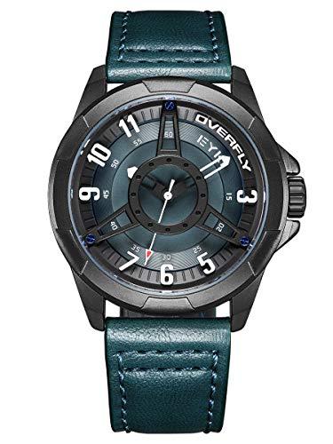Alienwork Herren-Armbanduhr Quarz schwarz mit Lederarmband blau XL Über-große Sportlich
