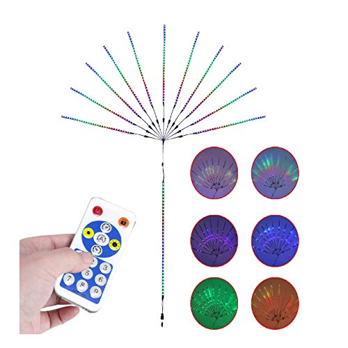 Valentine's Day Decoration LED Firework Sound Control Light String with Music Synchronization Sensitive Color RGB's Built-in Microphone,Indoor/Outdoor Decor for Yard Garden Pathway Party Decoration
