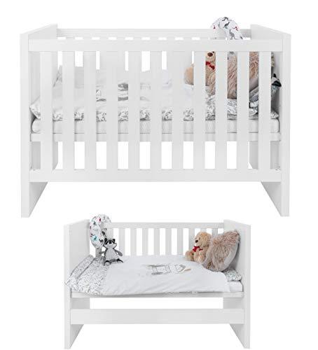 Mia Care Weiß Babybett 120x60 Massive Baby bett Umgestaltbar zum Sofa