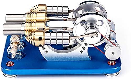YAHAMA Stirlingmotor Bausatz Startbares Doppelzylinder Parallel Stirlingmotor Modell Stirlingmotor LED