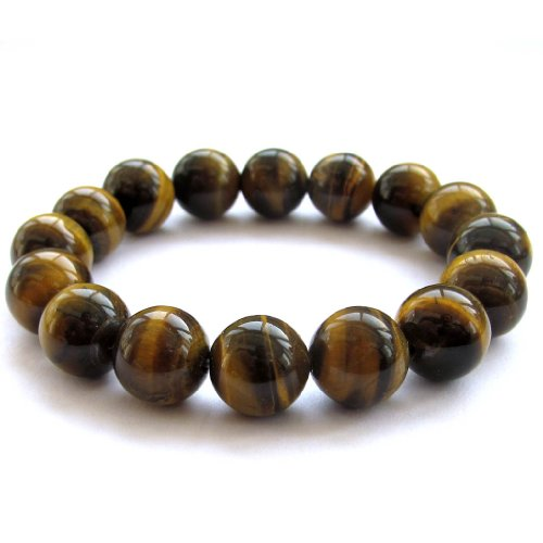 OVALBUY 12mm Tiger Eye Beads Yoga Meditation Wrist Japa Mala Rosary Bracelet