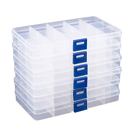 Jewelry Organizer Box 6 Pack, Clear Plastic Container Storage with Adjustable Movable Dividers 15 Grids for Beads, Jewelry, Fishing Hook and Letterboard Letters
