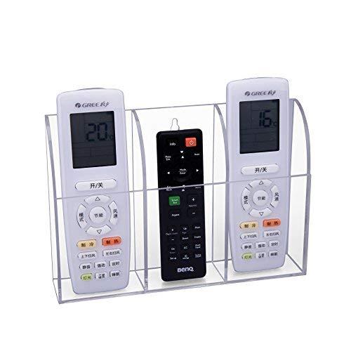HBFFernbedienung Halter Organizer, TV Klimaanlage Wandhalterung oder Tischhalter Aufbewahrungs Kasten aus transparentem Acryl für 3 Fernbedienungen