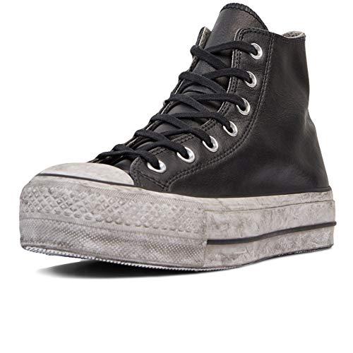 Converse 56290 Limited Edition Chuck Taylo r all Star Leather Smoke Platform High Top, 562908C, Scarpa da Ginnastica Donna, Autunno Inverno Vitello Nero 39.5