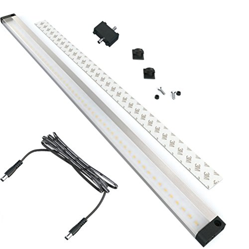 EShine Extra Long 20 inch LED Under Cabinet Lighting Bar Panel - NO IR Sensor - with Accessories (No Power Supply Included), Warm White (3000K)