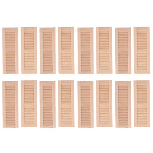 Toygogo 16pcs Unpainted 1/12 Wood Shutters Doll House DIY Window Furniture Room Item