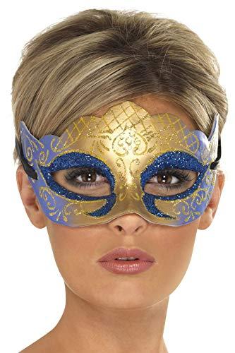 Smiffys Unisex Venetiaanse glitter oogmasker, één maat, goud en blauw, 39025