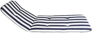Coussin pour Chaise de Jardin - Rayures Bleu et Vertes - Longueur Totale 193cm / / Largeur 60cm / / épaisseur 5cm