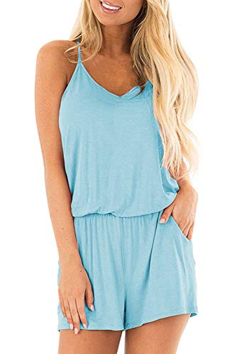 Bluetime Womens Loose Beach Summer Outfits V Neck Spaghetti Strap Rompers Casual Short Jumpsuits Jumpers (Light Blue, XXL)