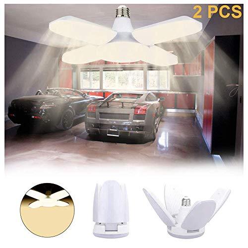 JUMRO E27 LED Lampe 60W 6000 Lumen Glühbirne,LED Garagenleuchten 3000 Kelvin Warmweiß, 180° Abstrahlwinkel Energiesparlampe, 2 Stück