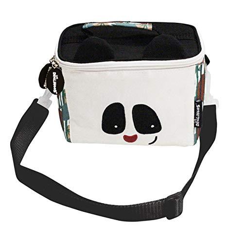 LES DÉGLINGOS Sac Isotherme Bébé (Rototos le Panda) - Lunch Bag Enfant - Bagage Repas Enfant Garçon - Bandoulière - Pique-Nique Goûter - Isolant PEVA - Noir