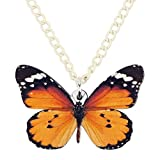 DOWAY Acrylic Danaus Chrysippus Butterfly Pendant Necklace Charms Spring Summer Insect Jewelry for Women Girls Party Gifts (Orange-2)