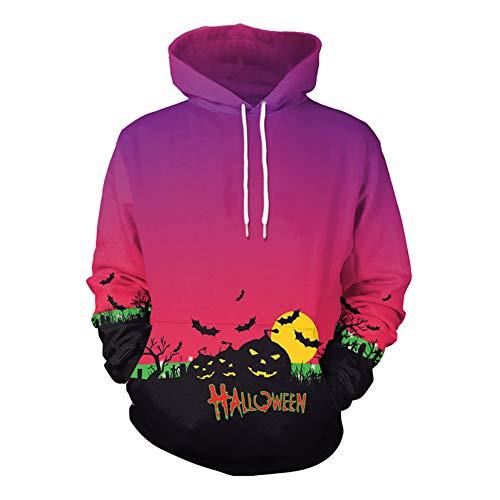Scary Ghost Disfraz de Halloween Mujer Sudadera con Capucha Cráneo Flaco Manga Larga Impresión 3D Monstruo Cosplay Hombres Suéter de Calabaza Unisex