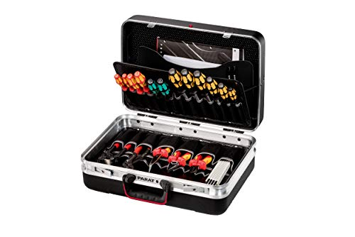 Parat SILVER Allround Werkzeugkoffer (2 Schlüssel, 1 Längssteg, 3 Querstege, 48 x 35 x 18 cm, ohne Inhalt) 531.000.171