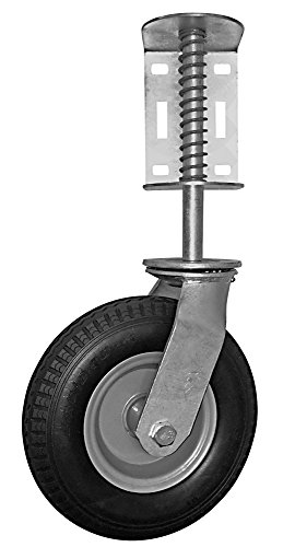 Shepherd Hardware 8734 Heavy Duty Flat Free Spring-Loaded Gate Caster with Universal Mount, 8-Inch Wheel, 220-lb Capacity, Black