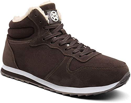 Gaatpot Herren Damen Winterschuhe Schneestiefel Winter Hohe Sneakers Warm gefütterte Leder Schnür Stiefel Boots Schuhe Braun 41.5EU=43CN
