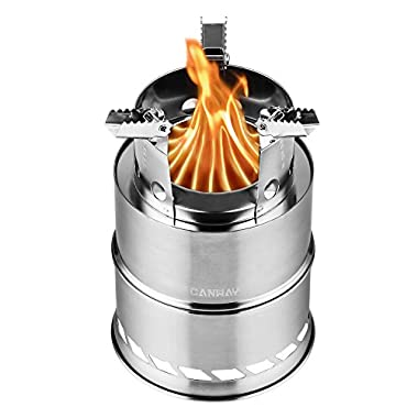 Canway Camping Stove, Wood Stove/Backpacking Stove,Portable Stainless Steel Wood Burning Stove Nylon Carry Bag Outdoor Backpacking Hiking Traveling Picnic BBQ