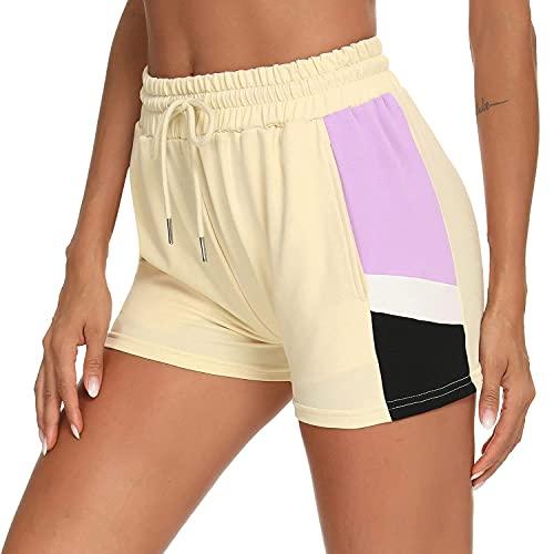 Doaraha Pantalones Cortos Deportivos para Mujer, Pantalones Cortos Casuales con Bolsillos de Cintura Elástica, Pantalones Cortos de Verano para Yoga, Pantalones Cortos de Patrón para Mujer