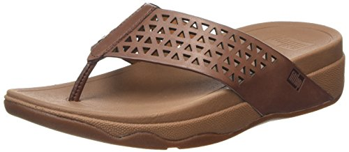 Fitflop Leather Lattice Surfa Tm Infradito, Marrone (Brown (Dark Tan 277)), 38